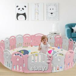 20-Panel Baby Playpen Kids Activity Center Home withMusic Box & Basketball Hoop