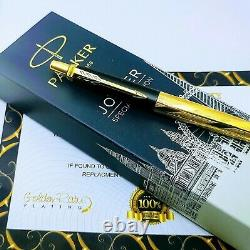 24Ct Gold Plated Parker Architecture Jotter Ballpoint Writing Pen Gift Box 24k