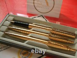 24Ct Gold Plated Parker Fountain / Jotter Writing Pen and Pencil Set Gift Boxed