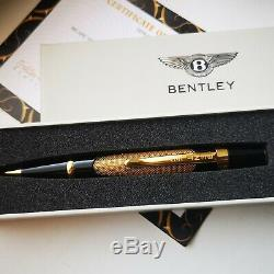 24ct Gold Plated Bentley Ballpoint Writing Pen Black Gift Boxed Free Ink 24K