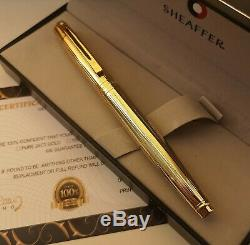 24k Gold Plated Shiny Sheaffer 300 Fountain Writing Pen Set Gift Boxed Ink 24ct