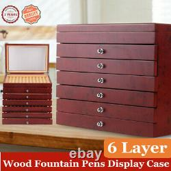 6 Layer 78 Pen Wood Box Display Storage Wooden Large Fountain Pen Case SALE! US