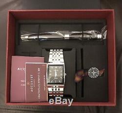 Accurist Mens Diamond Set Dial Bracelet Watch & Pen Set MB1121 New With Gift Box