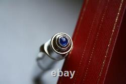 CARTIER Diabolo Solid Brushed Steel Platinum BLUE STONE Rollerball Pen MINT, BOX