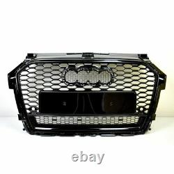 Front Grill Look RS1 Black For Audi A1 8X 2015-19 Honeycomb Grill Bumpers