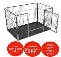 Heavy Duty 4pc Puppy Play Pen Dog Crate Whelping Box Rabbit Enclosure Dog Cage