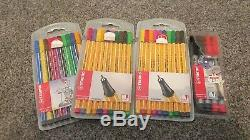 Joblot Of Art Materials, Pads, Pastels, Pens, Pencils. In Wooden Box. New + used