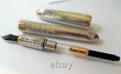 Louis Cartier Godron Silver Plated 18k Gold Nib Fountain Pen with Original Box