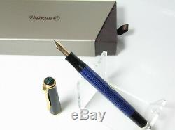 MINT condition PELIKAN M400 blue striated fountain pen 14ct OM nib in box