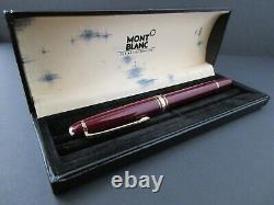 MONTBLANC VINTAGE MEISTERSTUCK 144 Bordeaux Fountain Pen Gold 14K NIB M with Box