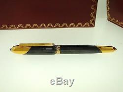 MUST DE CARTIER 1992 COUGAR CABOCHON FOUNTAIN PEN With18K GOLD NIB BOX & PAPERS