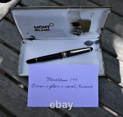 Montblanc 144 Fountain Pen with Box and Paperwork, 14K EF Nib, Vintage