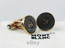 Montblanc Hartford Cufflinks Solid 18k Red Gold Diamonds New Box Germany 109520