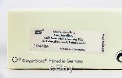 Montblanc Sterling Silver Skeleton Cufflinks 3 Rings Diamond New Box 104486