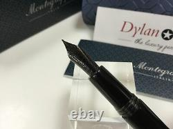 Montegrappa Fortuna black resin gunmetal fountain pen medium nib + boxes