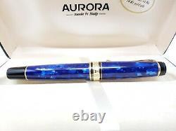 NEW Aurora Optima 996 Cobalt Blue Fountain Pen 14K Gold M Nib New In Box