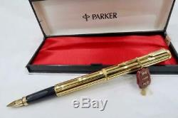 NEW OLD STOCK PARKER PREMIER ATHENES 22ct GOLD PLATE, BLACK LAQUE STRIPES, BOXED