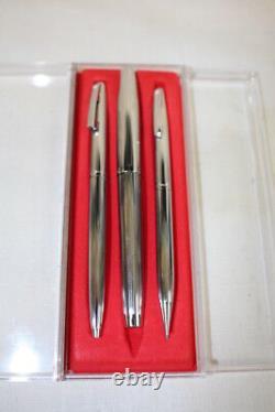 NOS Vtg. Sheaffer White Dot Stainless Trio Pencil, Ballpoint, Fountain Pen + Box