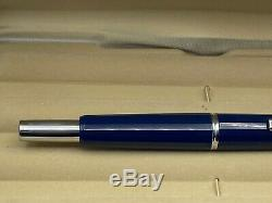 Namiki Vanishing Point Fountain Pen BLUE FACETED 14K Broad Nib Mint Boxed