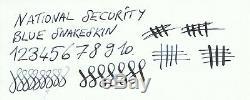 National Security Fountain Pen In Box, Blue Snakeskin, Semi Flex 14k Stub M Nib