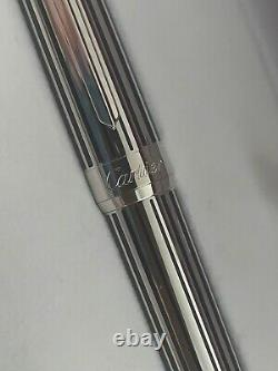 New Cartier In Box France Pasha Platinum Finish Fountain Pen 18k 750 Tip