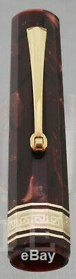 New Fountain Pen Omas Paragon 1992 Red Marble Nib M Complete Box