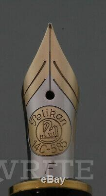 New! Fountain Pen Pelikan Souveran M 750 Jubilee Silver Plated F Complete Box