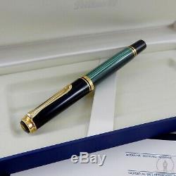 New In Box Old Logo Pelikan Souveran M400 Green Striated Fountain Pen 14C M Nib