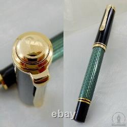 New In Box Pelikan Souveran M400 Green Striated Fountain Pen 14C Medium Nib