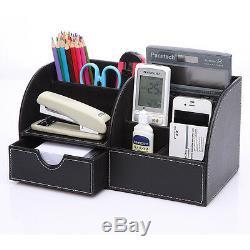 Office Desk Organizer Set T04-9PCS/set Black Leather Files Pen Pencil Holder Box