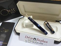 Omas royal blue Paragon Extra 2002 celluloid fountain pen 18K nib + boxes