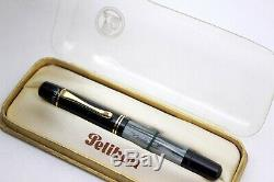 PELIKAN 100N DRP-Fountain Pen-GREY MARBLE CELLULOID-14K GOLD NIB-1940-NEW In BOX