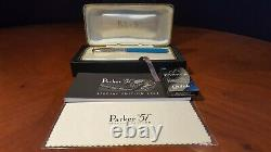 Parker 51 Special Edition 2002 Vista Blue Fine Pt. Fountain Pen New with Box