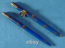 Parker 75 Lapis Gold-dust finish, fountain pen and ballpoint set, mint, boxed