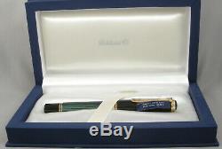 Pelikan M1000 Green Stripe, Black & Gold Fountain Pen In Box 18kt Medium Nib