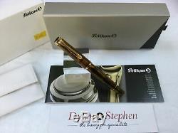 Pelikan Souveran M200 cognac demonstrator fountain pen FINE nib + boxes + papers