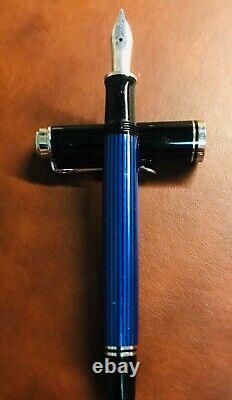 Pelikan Souverän M405 Fountain Pen with Gift Box, Fine Nib, Black/Blue