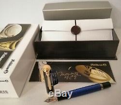 Pelikan Souveran M800 Fountain Pen Black / Blue F # 986729 New In Box