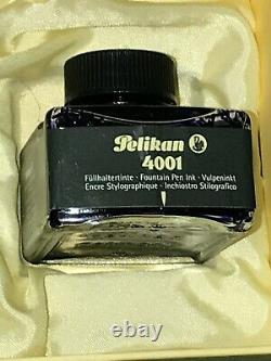 RARE PELIKAN FOUNTAIN PEN M1050 with VERMEIL CAP F 18k NIB BLACK, ORIG BOX/INK
