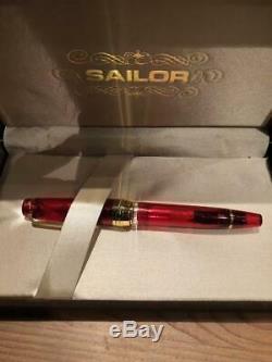 Rare Limited sailor Pro gear realo Ruby Red fountain pen nib 21K F/s set box JP