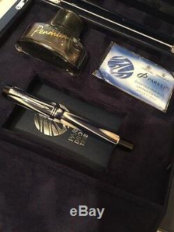 Rare Parker Duofold Centennial True Blue Fountain Pen-boxed-paperwork-nos