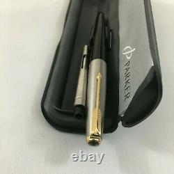 Rare Parker VP Brush Steel GT Black FP nib 14k No. 65+Converter BOX USA NEW