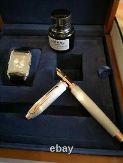 Rotary reverso Watch + new wooden box, fountain pen & ink. Not Jaeger Lecoultre