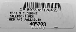 S. T. Dupont Defi Ballpoint Pen, Red With Palladium Accents, 405703, New In Box