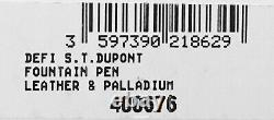 S. T. Dupont Defi Perforated Leather & Palladium Fountain Pen, 400676 New In Box