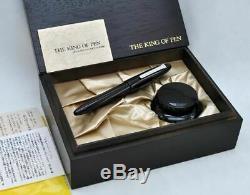SAILOR King of Pens (KOP) 1911 Ebonite Fountain Pen Black Silver with Wooden Box