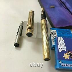 Sheaffer 1005 Targa Full Flutted Lined Size 23Kt Goldplated FP 14k M BOX USA NEW