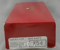 Sheaffer Balance II Crimson Glow & Gold Fountain Pen In Box 18kt M Nib 1998