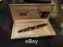 Vintage MONTBLANC Meisterstuck Classique Burgundy Red 144R Fountain Pen New Box
