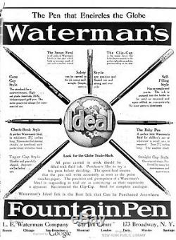 Vintage WATERMAN CHECKBOOK Fountain Pen Black Eyedropper #2 Nib NEAR MINT Boxed
